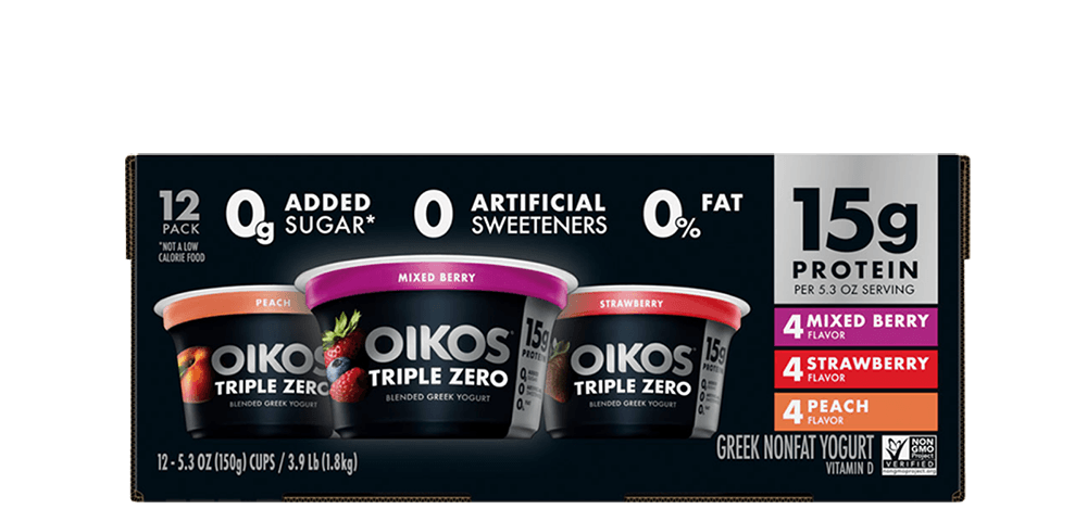 Peach, Strawberry, Mixed Berry Oikos Triple Zero High Protein Nonfat Greek Yogurt Multipack