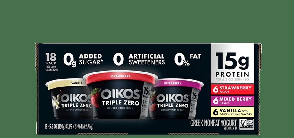 Vanilla, Strawberry, Mixed Berry Oikos Triple Zero High Protein Nonfat Greek Yogurt Multipack